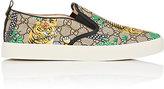 Gucci Men's Dublin Coated Canvas Slip-On Sneakers-BEIGE, DARK BROWN