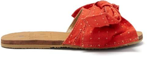 Ace&Jig Brother Vellies - X Burkina Leather And Canvas Slides - Womens - Red Multi