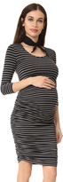 Ingrid & Isabel 3/4 Sleeve Shirred Maternity Dress