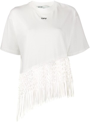 Off-White Asymmetric Hem Fishnet Top