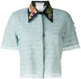 Melampo - embroidered collar cropped shirt - women - Silk/Cotton/Nylon/Spandex/Elastane - 40
