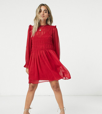 ASOS DESIGN Petite soft shirred mini smock dress with frill details in red