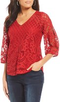 Figueroa & Flower Faye 3/4 Sleeve All-Over Lace Top