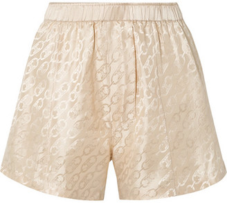Kiki de Montparnasse Logomania Silk-satin Jacquard Pajama Shorts - Ecru