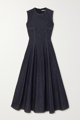 Emilia Wickstead Mara Pleated Denim Midi Dress - Blue