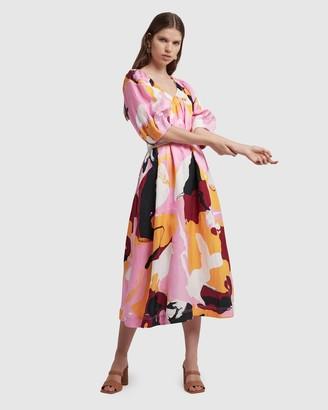 Aje Psychedelia Midi Smock Dress