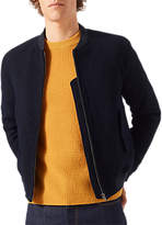 Jigsaw Italian Wool Boucle Bomber Jacket, Navy