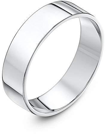 Theia Unisex Super Heavy Flat Court Shape Polished 18 ct White Gold 6 mm Wedding Ring - Size O