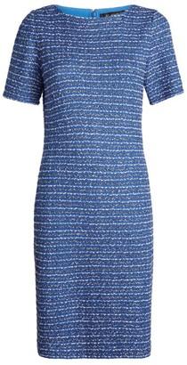 St. John Short-Sleeved Tweed Midi Dress