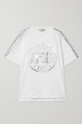 Fendi Fendirama Oversized Jacquard-trimmed Printed Cotton-jersey T-shirt - White