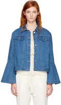 Edit Blue Denim Flute Sleeve Jacket