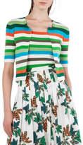 Akris Punto Round-Neck Zip-Front Striped Knit Cardigan