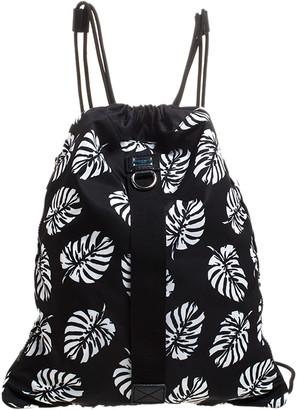 Dolce & Gabbana Black Palm Print Drawstring Backpack