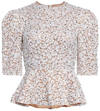 Michael Kors Embellished Lace Peplum Top