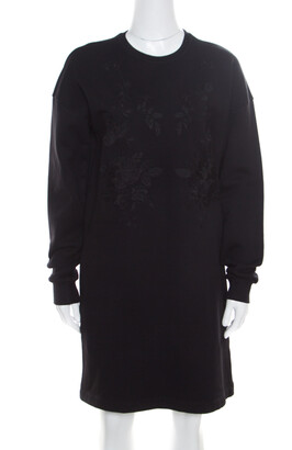 McQ Black Cotton Stretch Rose Tonal Embroidered Sweater Dress XS