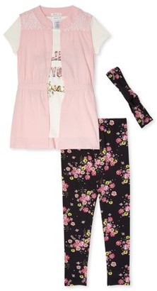 Forever Me Girls Rayon Twill Vest, Graphic T-Shirt and Leggings with Scrunchie, 3-Piece Outfit Set, Sizes 4-12