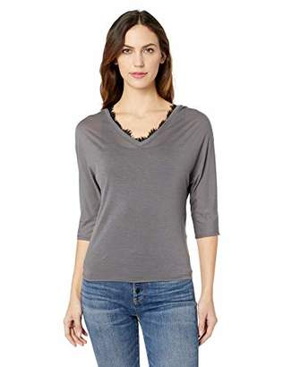 Three Dots Women's OL4587 Tencel Double V Dolman TEE