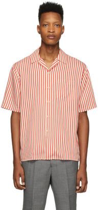 Ami Alexandre Mattiussi Red and Off-White Striped Shirt