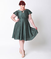 Unique Vintage Plus Size 1940s Style Emerald & Ivory Polka Dot Formosa Swing Dress
