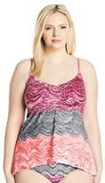 Becca Etc by Rebecca Virtue Women's Plus Size Convertible Strap Tankini Top