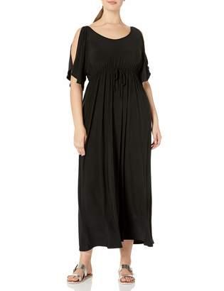 Star Vixen Women's Plus-Size Slit Flutter Sleeve Maxi Dress with Empire Drawstring Waist