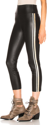 Sprwmn Athletic Capri Legging in Black & Gold Stripes | FWRD