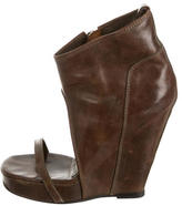 Rick Owens Brown Leather Wedges