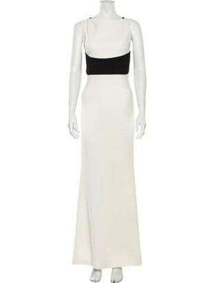 Roland Mouret Square Neckline Long Dress White