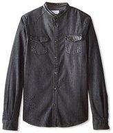 Eleven Paris ELEVENPARIS Men's Glass Mandarin Collar Long Sleeve Shirt