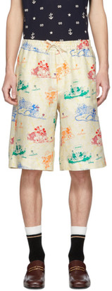 Gucci Off-White and Multicolor Linen Disney Edition Shorts