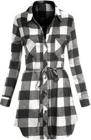 Hot From Hollywood Women's Long Sleeve Button Up Plaid Flannel Belted Tunic Shirt Dress
