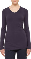Akris Punto V-Neck Long-Sleeve Jersey Tee, Slate