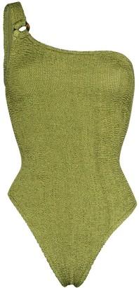 Hunza G Nancy one-shoulder crinkle-effect swimsuit