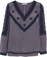 Chelsea Flower Embroidered crepe top