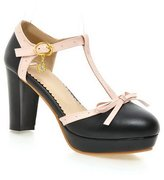 BalaMasa Girls High-Heels Metal Bowknot Soft Material Pumps-Shoes