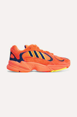 adidas Yung-1 Leather, Suede And Mesh Sneakers - Orange