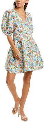 AMUR Avian Linen & Silk-Blend A-Line Dress