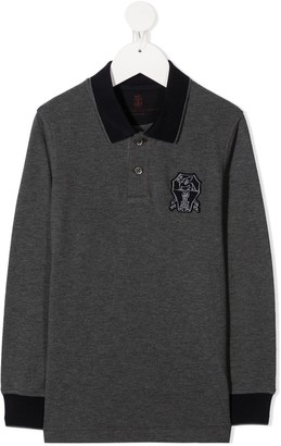 BRUNELLO CUCINELLI KIDS Logo-Patch Polo Shirt