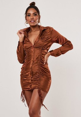 Missguided Rust Satin Ruched Front Shirt Dress