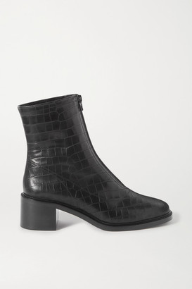BY FAR Bruna Croc-effect Leather Ankle Boots - Black