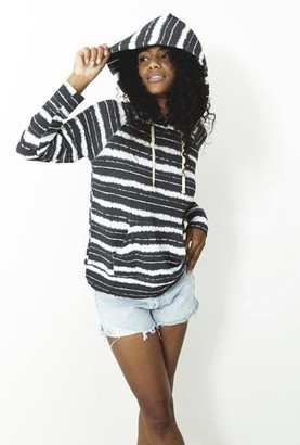 Stripe & Stare Charcoal Striped Hoodie - Small
