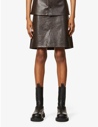 Bottega Veneta A-line high-waist leather mini skirt