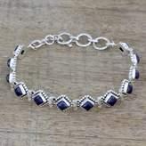 India Lapis Lazuli and Sterling Silver Tennis Bracelet, 'Deep Blue Diamonds'