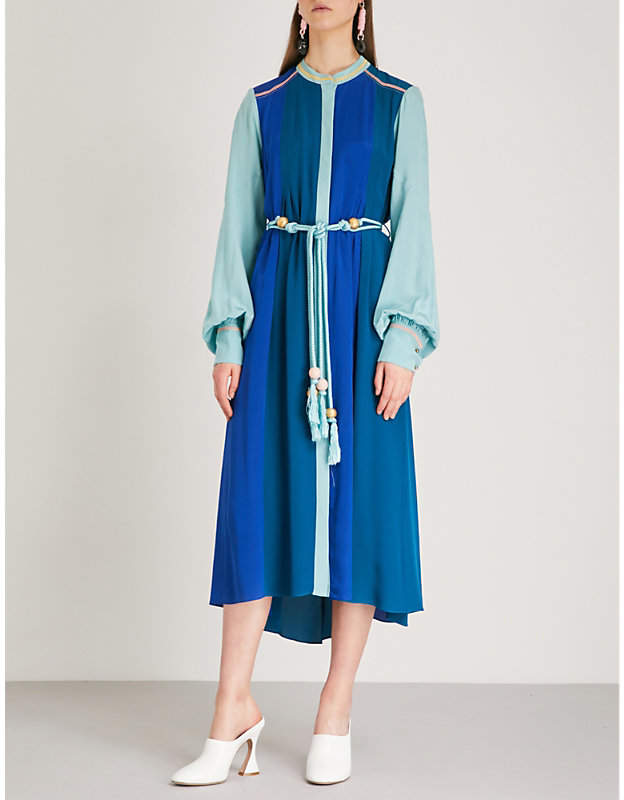 Peter Pilotto Tassel-tie silk-satin shirt dress