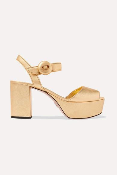 Prada Metallic Textured-leather Platform Sandals - Gold