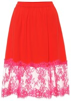 MSGM Lace-trimmed crepe skirt