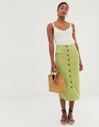 Asos Design DESIGN button front midi skirt in olive-Green