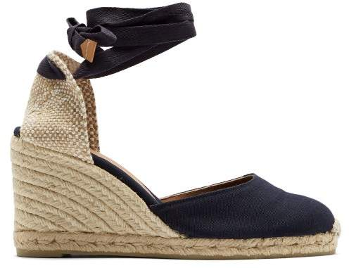 56f7990aa46 Carina 80 Canvas & Jute Espadrille Wedges - Womens - Navy
