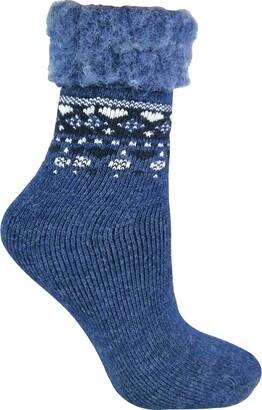 Sock Snob - Ladies Turn Over Top Warm Thermal Winter Nordic Wool Blend Home Bed Socks (4-8 uk