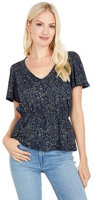 Lucky Brand Smocked Waist V-Neck Top (Navy Multi) Women's Clothing